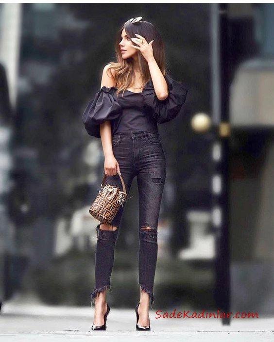 2020 Siyah Kot Pantolon Kombinleri Siyah Yüksel Bel Yırtık Pantolon Siyah Straplez Balon Kol Bluz