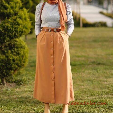 2019 Tesettür Etek Gömlek Kombinleri Hardal Sarı Uzun Düğmeli Kemerli Etek Gri Gömlek