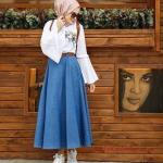 2020 Tesettür Etek Gömlek Kombinleri Mavi Uzun Kloş Kot Etek Beyaz İspanyol Kol Nakışlı Gömlek
