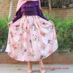 2020 Tesettür Etek Kombinleri Pembe Uzun Kloş Çiçek Desenli Etek Mor Fırfırlı Bluz Pembe Şal Pembe Stiletto Ayakkabı