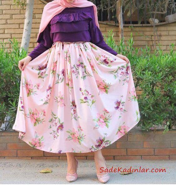 2019 Tesettür Etek Kombinleri Pembe Uzun Kloş Çiçek Desenli Etek Mor Fırfırlı Bluz Pembe Şal Pembe Stiletto Ayakkabı