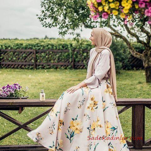 2019 Tesettür Etek Kombinleri Vizon Uzun Kloş Desenli Etek Vizon Gömlek Vizon Şal