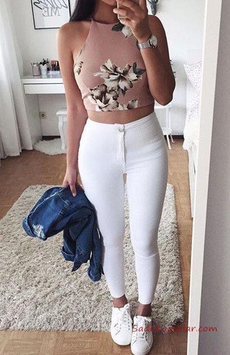2020 Yüksek Bel Kot Pantolon Kombin Önerileri Beyaz Yüksel Bel Pantolon Pudra Halter Yaka Desenli Kısa Bluz Beyaz Spor Ayakkabı