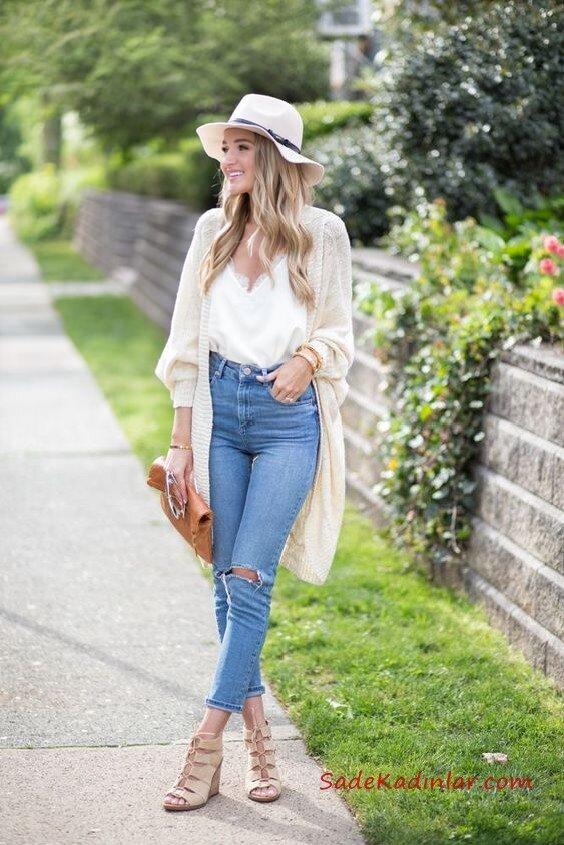 2020 Yüksek Bel Kot Pantolon Kombin Önerileri Önerileri Mavi Yırtık Yüksel Bel Pantolon Beyaz Askılı Bluz Krem Uzun Hırka Krem Nubuk Topuklu Ayakkabı