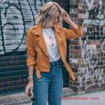2020 Yüksek Bel Kot Pantolon Kombin Önerileri Mavi Yüksel Bel Kot Pantolon Beyaz Bluz Sarı Kısa Spor Ceket