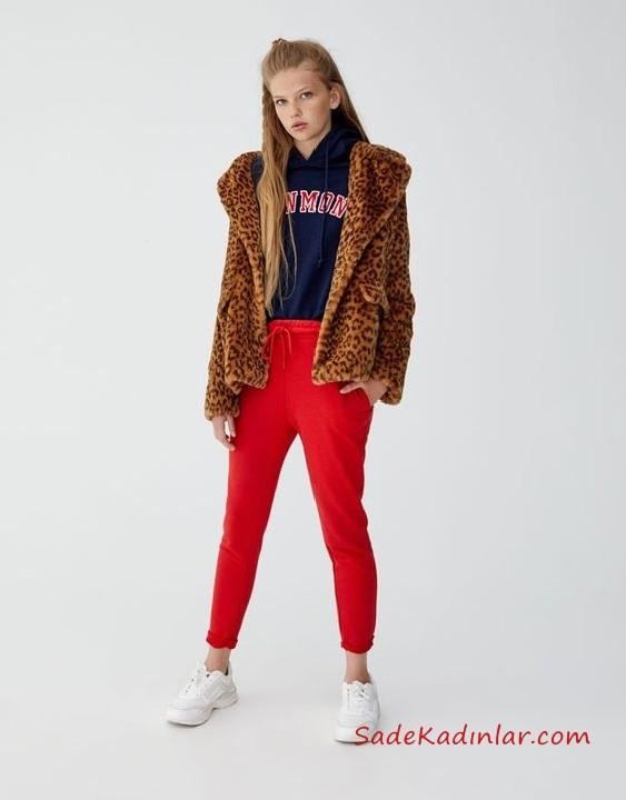 12, 13 Yaş Kombinleri Kırmızı Pantolon Lacivert Kapşonlu Sweart Kahverengi Mont Beyaz Spor Ayakkabı