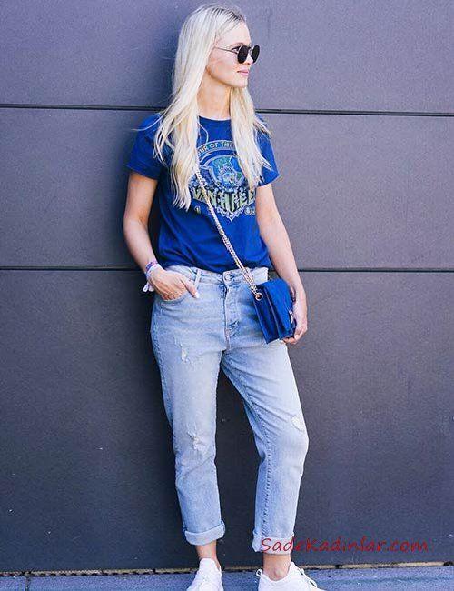 Mavi Boyfriend Jean Saks Mavi Kısa Kol Tişört Beyaz Sneaker Spor Ayakkabı