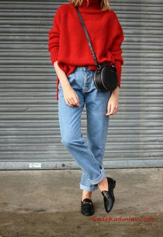 2019 Mom Jean Kombinleri Mavi Mom Jeans Kırmızı Boğazlı salaş Kazak Siyah Ayakkabı