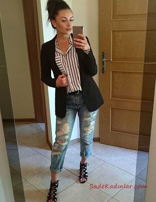 Mavi Yırtık Boyfriend Jean Beyaz Çizgili Gömlek Siyah Ceket Siyah Topuklu Ayakkabı