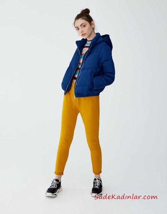 12, 13 Yaş Kombinleri Sarı Pantolon Çizgili Kazak Lavivert Kapşonlu Şişme Mont Siyah Spor Ayakkabı