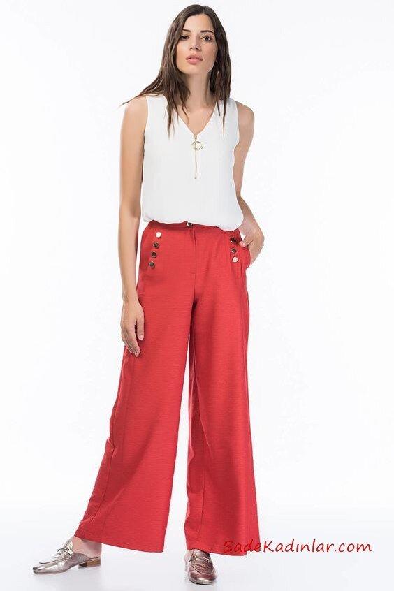 2020 Bol Pantolon Kombinleri Nar Çiçeği Cepli Pantolon Beyaz Kolsuz Bluz Gümüş Babet Ayakkabı