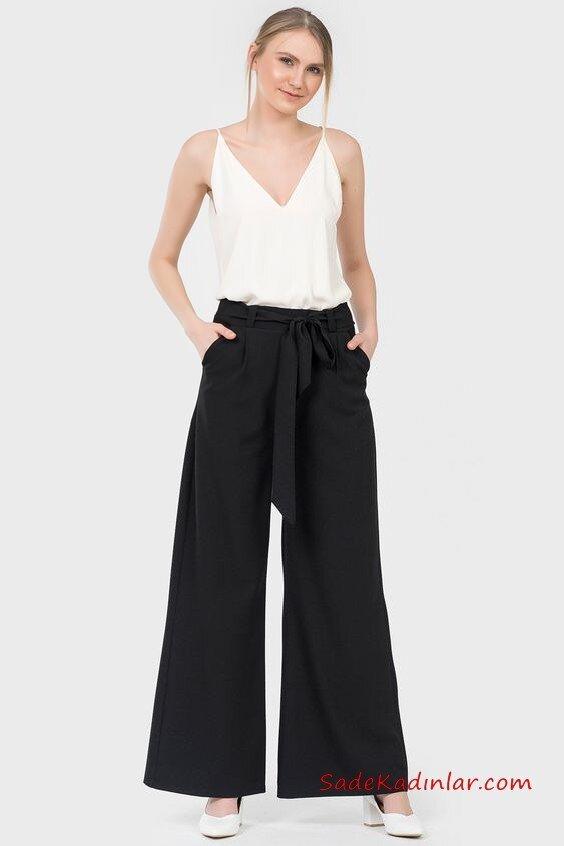 2020 Bol Pantolon Kombinleri Siyah Cepli Pantolon Beyaz Askılı V Yaka Bluz Beyaz Topuklu Ayakkabı