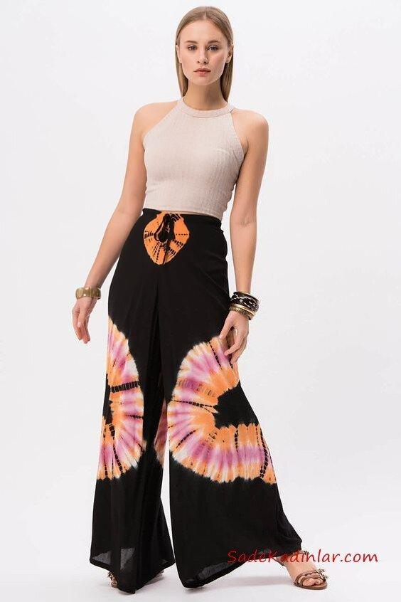 2020 Bol Pantolon Kombinleri Siyah Desenli Bağcıklı Pantolon Vizon Halter Yaka Bluz Kahverengi Sandalet