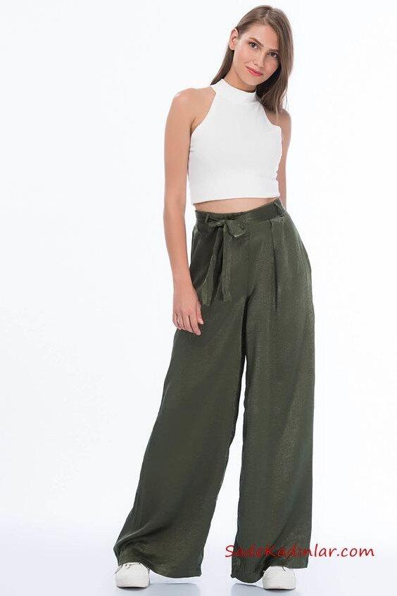 2020 Bol Pantolon Kombinleri Yeşil Beli Kumaş Kemerli Pantolon Beyaz Halter Yaka Kısa Bluz Beyaz Spor Ayakkabı