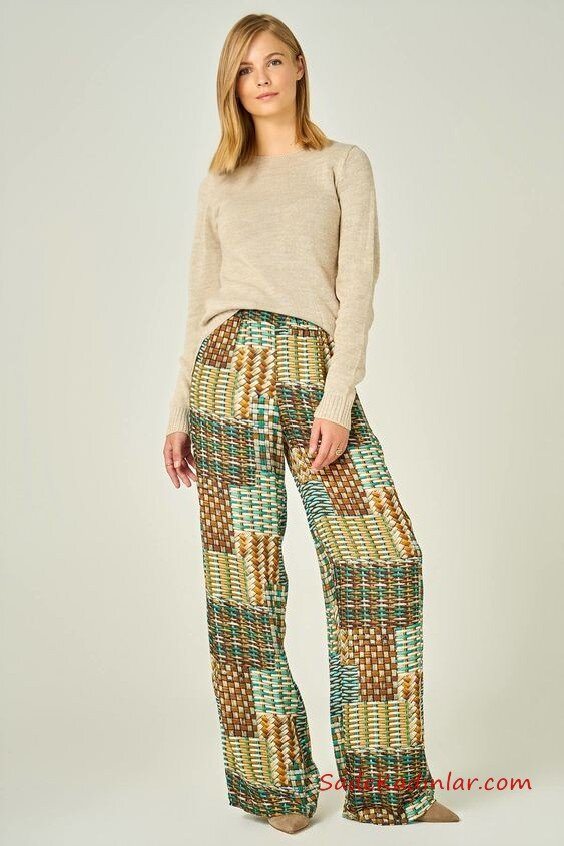 2020 Bol Pantolon Kombinleri Yeşil Pantolon Desenli Vizon Kazak Vizon Topuklu Ayakkabı