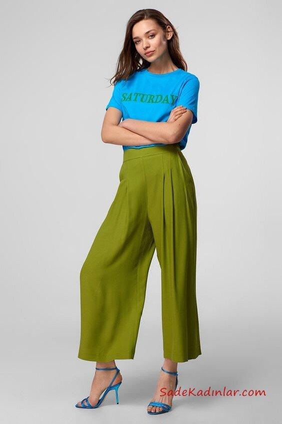 2020 Bol Pantolon Kombinleri Yeşil Pantolon Mavi Kısa Kollu Tişört Mavi Stiletto Ayakkabı