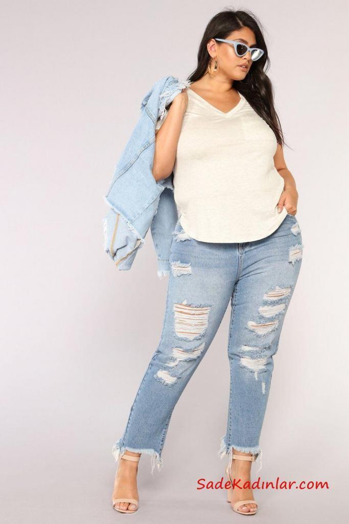 2019 Büyük Beden Günlük Kıyafetler Mavi Yırtık Kot Pantolon Beyaz Bluz Mavi Kot Ceket Krem Topuklu Ayakkabı