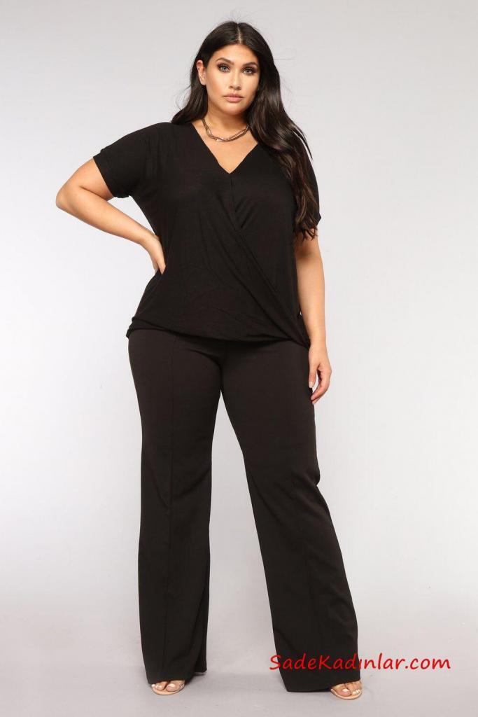 2019 Büyük Beden Günlük Kıyafetler Siyah Bol Kumaş Pantolon Siyah V Yaka Kısa Kol Bluz Vizon Topuklu Ayakkabı
