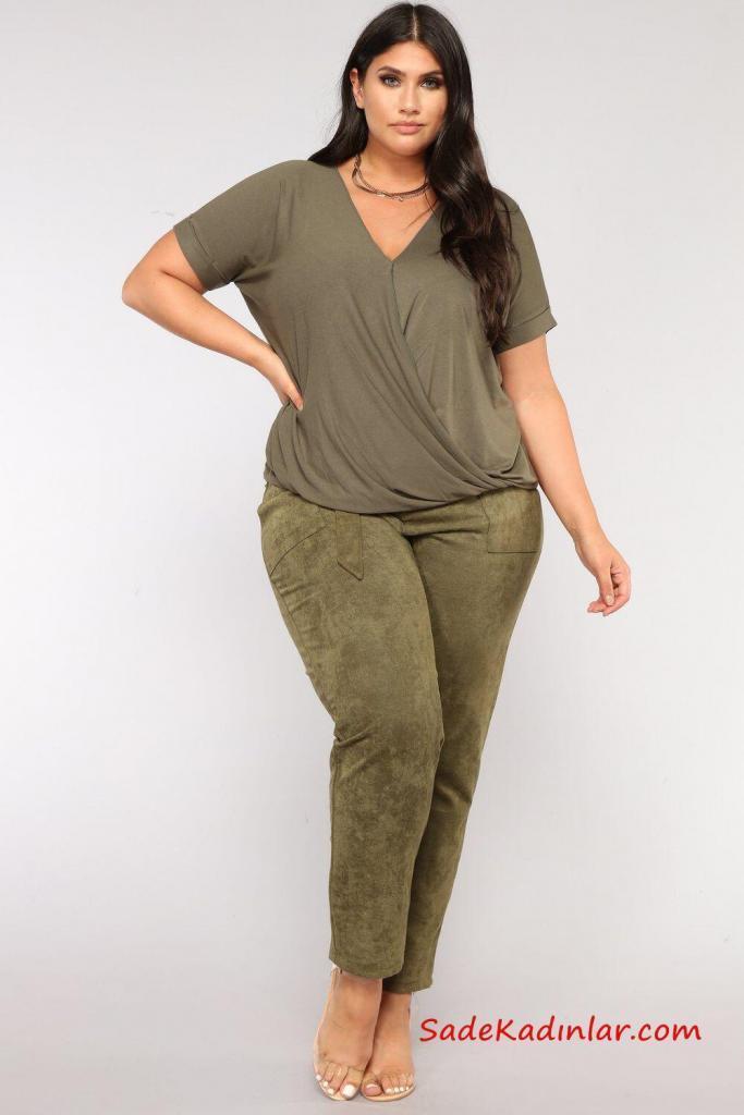 2019 Büyük Beden Günlük Kıyafetler Yeşil Kuamş Pantolon Yeşil V Yaka Bluz Şeffaf Stiletto Ayakkabı