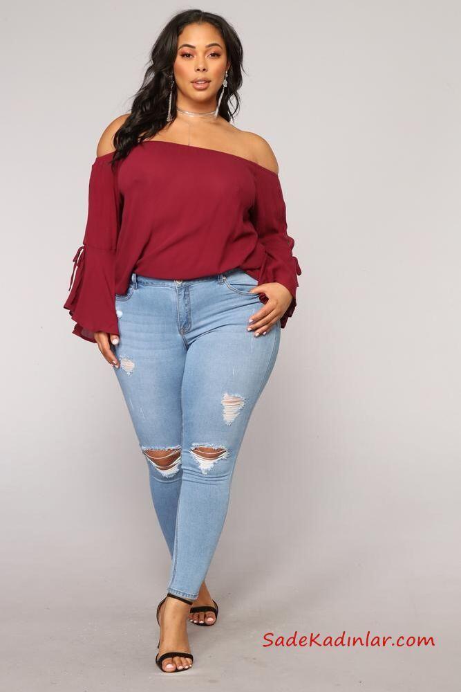 2019 Büyük Beden Günlük Kıyafetler Mav Yırtık Kot Pantolon Vişne Omzu Açık Uzun Kol Bluz Siyah Stiletto Ayakkabı
