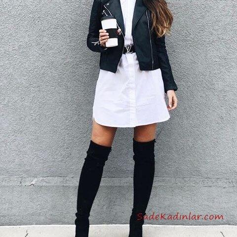 2019 Deri Ceket Kombinleri Beyaz Kısa Gömlek Elbise Siyah Deri Ceket Siyah Uzun Çizme