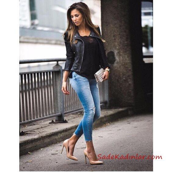 2019 Deri Ceket Kombinleri Mavi Yırtık Skinny Kot Pantolon Siyah Bluz Siyah Deri ceket Vizon Stiletto Ayakkabı