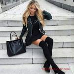 2019 Deri Ceket Kombinleri Siyah Kısa Kloş Mini Elbise Siyah Kısa Deri Ceket Siuzn Uzun Çizme