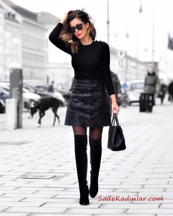 2019 Deri Etek Kombinleri Siyah Kısa Etek Siyah Kazak Siyah Uzun Çorap Çizme