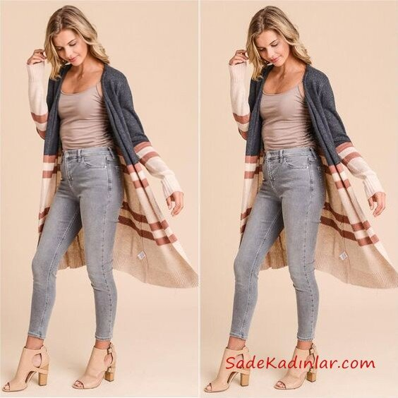 Bayan Uzun Hırka Kombinleri Gri Yüksel Bel Pantolon Kahverengi Askılı Bluz Kahverengi Çizgi Desenli Uzun Hırka