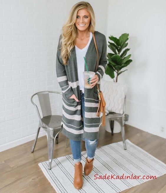 2019 Hırka Kombinleri Mavi Skinny Kot Pantolon Beyaz V Yaka Bluz Gri Cepli Çizgili Uzun Hırka