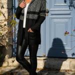 2019 Hırka Kombinleri Siyah Deri Pantolon Beyaz Bluz Siyaz Kapşonlu Cepli Uzun Hırka