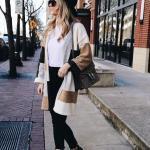 2019 Hırka Kombinleri Siyah Skinny Pantolon Beyaz Bluz Krem Çizgili Uzun Hırka