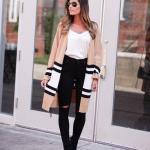 2019 Hırka Kombinleri Siyah Yırtık Yüksel Bel Pantolon Krem Bluz Kahverengi Çizgili Uzun Hırka
