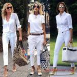 2019 Kalem Pantolon Kombinleri Beyaz Kalem Pantolon Beyaz Gömlek Sarı Topuklu Ayakkabı