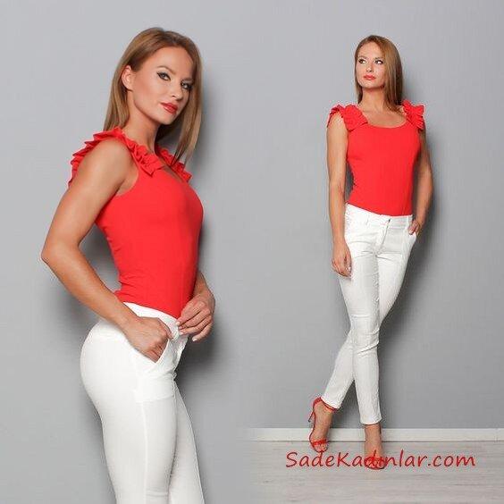 2019 Kalem Pantolon Kombinleri Beyaz Kalem Pantolon Kırmızı Askılı Bluz Kırmızı Topuklu Ayakkabı