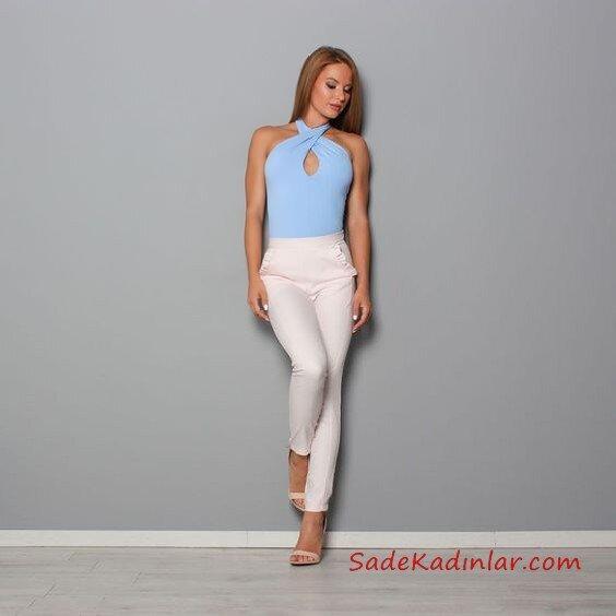 2019 Kalem Pantolon Kombinleri Beyaz Kalem Pantolon Mavi Halter Yaka Bluz Krem topuklu Ayakkabı