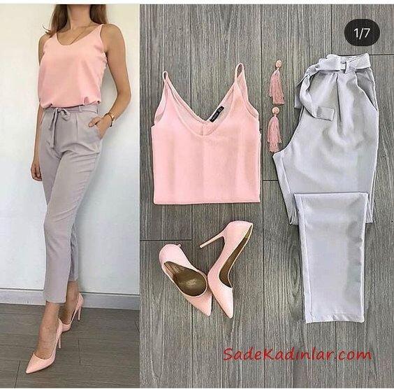 2019 Kalem Pantolon Kombinleri Gri Kalem Pantolon Pembe Askılı Bluz Pembe Stiletto Ayakkabı