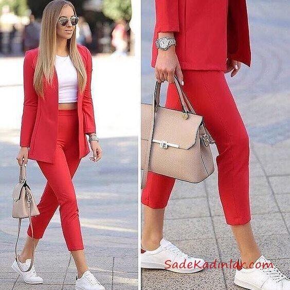 2019 Kalem Pantolon Kombinleri Kırmızı Kalem Pantolon Beyaz Bluz Kırmızı Ceket Beyaz Spor Ayakkabı