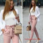 2019 Kalem Pantolon Kombinleri Pembe Kalem Pantolon Beyaz Bluz Beyaz Ceket Krem Spor Ayakkabı