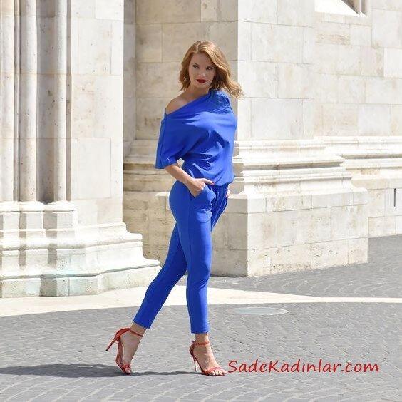 2019 Kalem Pantolon Kombinleri Saks Mavi Kalem PAntolon Saks Mavi Omzu Açık Bluz Kırmızı Stiletto Ayakkabı
