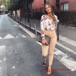 2019 Kalem Pantolon Kombinleri Vizon Kalem PAntolon Beyaz Desenli Gömlek Kahverengi Sandalet Ayakkabı