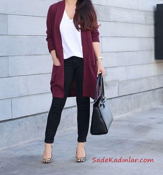 2019 Kış Kombinleri Siyah Skinny Pantolon Beyaz V Yaka Bluz Mürdüm Uzun Hırka Leopar Desenli Stiletto Ayakkabı