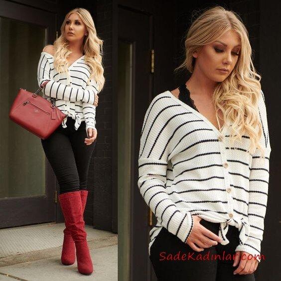 En Tarz Kış Kombinleri Siyah Skinny Pantolon Siyah Bluz Beyaz Çizgili Hırka Kırmızı Uzun Çizme