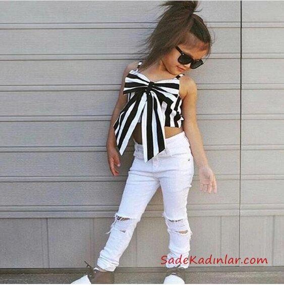 2019 Kız Çocuk Kıyafet Kombinleri Beyaz Skinny Pantolon Beyaz Askılı Kısa Bluz