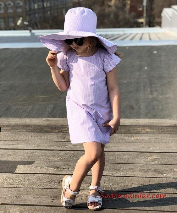 2019 Kız Çocuk Kıyafet Kombinleri Eflatun Kısa Elbise ve Şapka Beyaz Ayakkabı