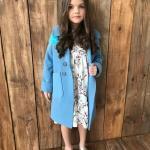 3-4 Yaş Kız Çocuk Kıyafet Kombinleri Krem Kısa Çiçekli Elbise Mavi Kaşe Mont Gümüş Babet Ayakkabı