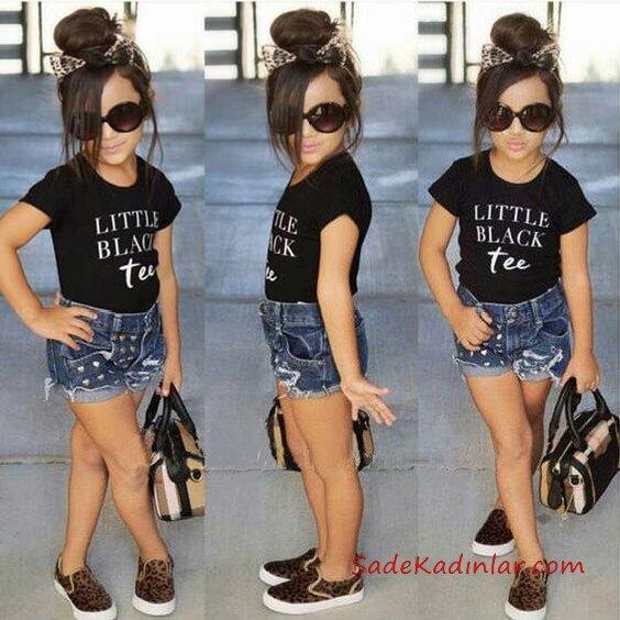 2019 Kız Çocuk Kıyafet Kombinleri Lacivert Kot Şort Siyah Kısa Kollu Tişört Leopar Desenli Babet Ayakkabı