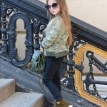3-4 Yaş Kız Çocuk Kıyafet Kombinleri Lacivert Skinny Pantolon Yeşil Mont Yeşil Bot