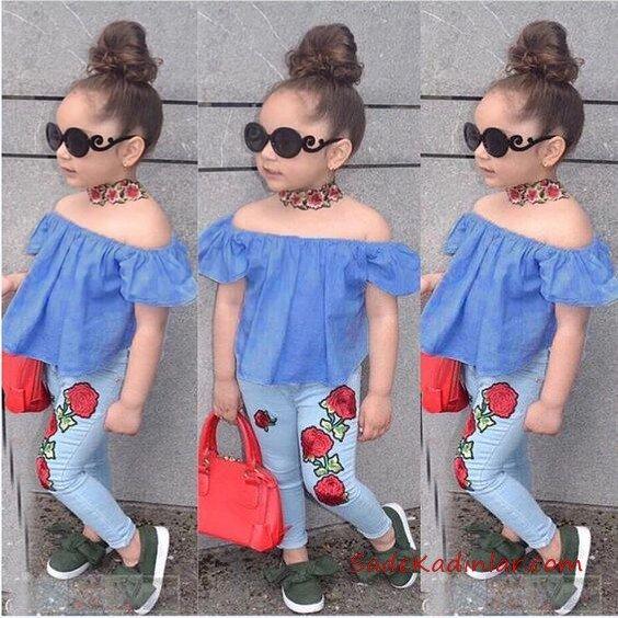 2019 Kız Çocuk Kıyafet Kombinleri Mavi Skinny Nakışlı Kot Pantolon Mavi Straplez Bluz Yeşil Babet Ayakkabı