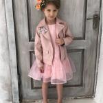 3-4 Yaş Kız Çocuk Kıyafet Kombinleri Pembe Kısa Elbise Pudra Ceket Pembe Ayakkabı